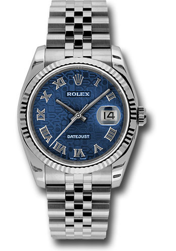 Rolex Watches - Datejust 36 Steel and White Gold - Fluted Bezel - Jubilee - Style No: 116234 bljrj