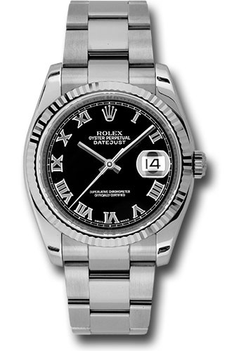 Rolex Watches - Datejust 36 Steel and White Gold - Fluted Bezel - Oyster - Style No: 116234 bkro