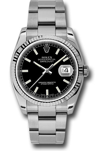 Rolex Watches - Datejust 36mm - Steel Fluted Bezel - Oyster Bracelet - Style No: 116234 bkso