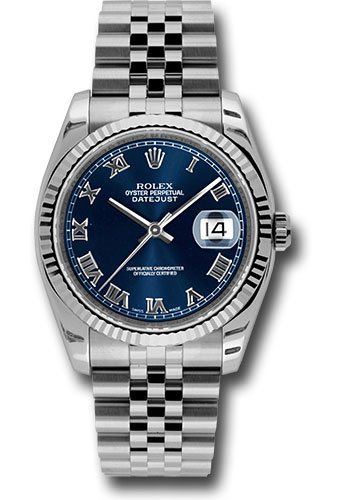 Rolex Watches - Datejust 36 Steel and White Gold - Fluted Bezel - Jubilee - Style No: 116234 blrj