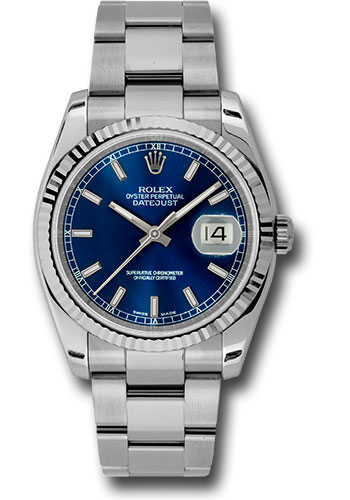 Rolex Watches - Datejust 36 Steel and White Gold - Fluted Bezel - Oyster - Style No: 116234 blso