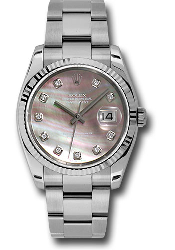 Rolex Watches - Datejust 36mm - Steel Fluted Bezel - Oyster Bracelet - Style No: 116234 dkmdo