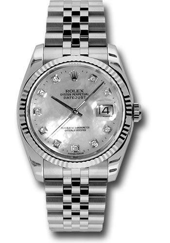 Rolex Watches - Datejust 36 Steel and White Gold - Fluted Bezel - Jubilee - Style No: 116234 mdj