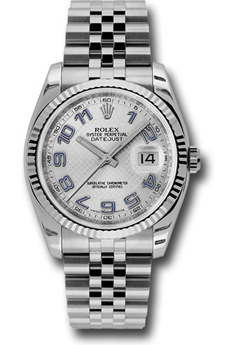 Rolex Watches - Datejust 36 Steel and White Gold - Fluted Bezel - Jubilee - Style No: 116234 sdblaj
