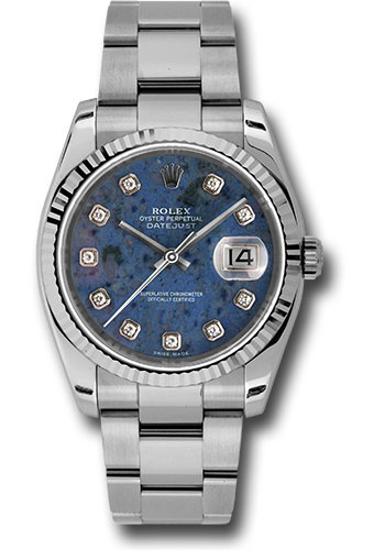 Rolex Watches - Datejust 36 Steel and White Gold - Fluted Bezel - Oyster - Style No: 116234 sodo