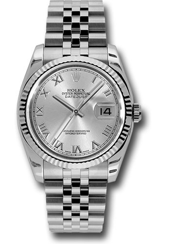 Rolex Watches - Datejust 36 Steel and White Gold - Fluted Bezel - Jubilee - Style No: 116234 srj