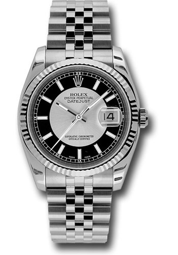 Rolex Watches - Datejust 36 Steel and White Gold - Fluted Bezel - Jubilee - Style No: 116234 stbksj