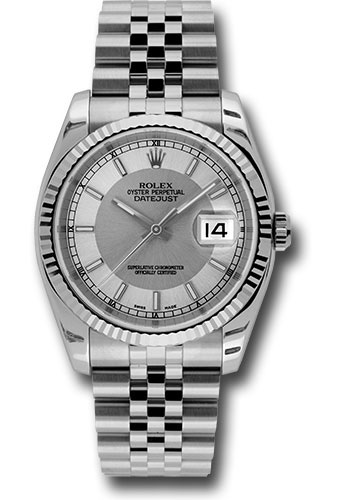 Rolex Watches - Datejust 36 Steel and White Gold - Fluted Bezel - Jubilee - Style No: 116234 stsisj