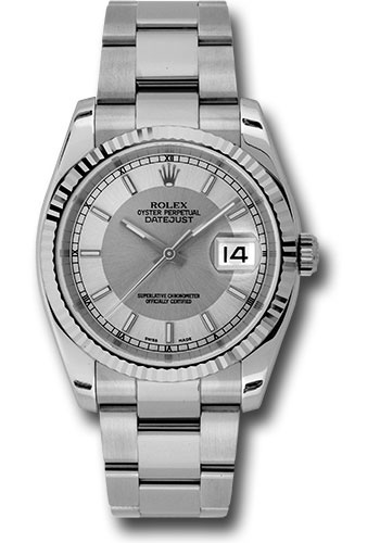 Rolex Watches - Datejust 36mm - Steel Fluted Bezel - Oyster Bracelet - Style No: 116234 stsiso