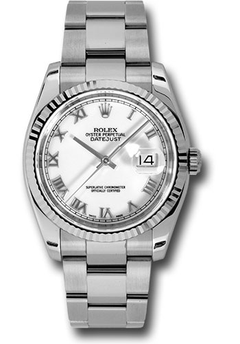Rolex Watches - Datejust 36 Steel and White Gold - Fluted Bezel - Oyster - Style No: 116234 wro