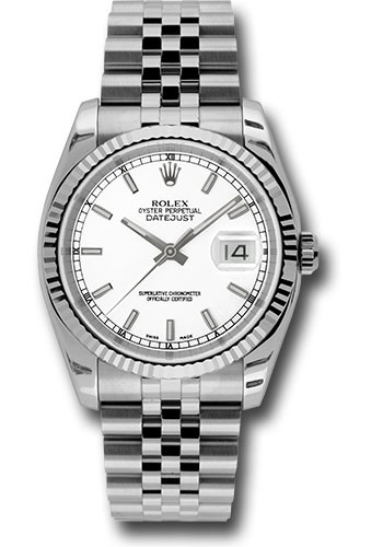 Rolex Watches - Datejust 36 Steel and White Gold - Fluted Bezel - Jubilee - Style No: 116234 wsj
