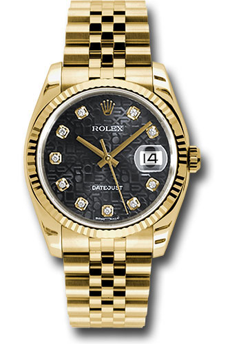 Rolex Watches - Datejust 36mm - Gold Yellow Gold - Fluted Bezel - Jubilee - Style No: 116238 bkjdj