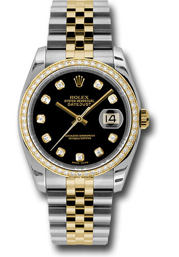 Rolex Watches - Datejust 36mm - Steel and Gold Yellow Gold - Diamond Bezel - Jubilee - Style No: 116243 bkdj