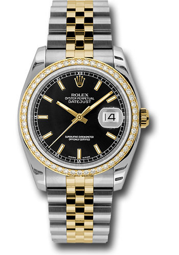 Rolex Watches - Datejust 36 Steel and Yellow Gold - Diamond Bezel - Jubilee - Style No: 116243 bkij