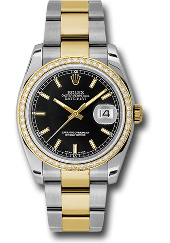 Rolex Watches - Datejust 36 Steel and Yellow Gold - Diamond Bezel - Oyster - Style No: 116243 bkio