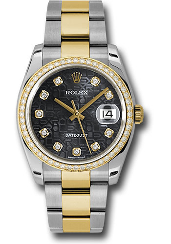 Rolex Watches - Datejust 36 Steel and Yellow Gold - Diamond Bezel - Oyster - Style No: 116243 bkjdo