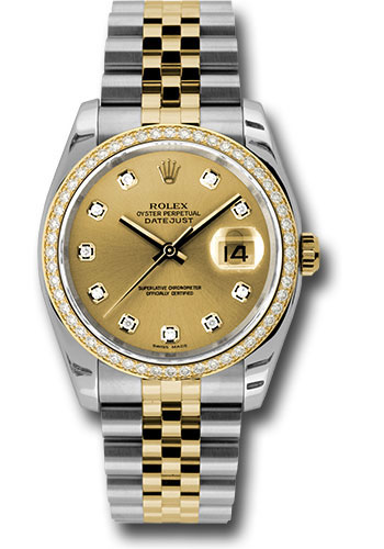 Rolex Watches - Datejust 36mm - Steel and Gold Yellow Gold - Diamond Bezel - Jubilee - Style No: 116243 chdj