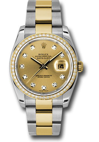 Rolex Watches - Datejust 36 Steel and Yellow Gold - Diamond Bezel - Oyster - Style No: 116243 chdo