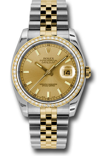 Rolex Watches - Datejust 36 Steel and Yellow Gold - Diamond Bezel - Jubilee - Style No: 116243 chij