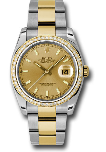 Rolex Watches - Datejust 36 Steel and Yellow Gold - Diamond Bezel - Oyster - Style No: 116243 chio