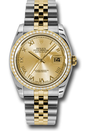 Rolex Watches - Datejust 36mm - Steel and Gold Yellow Gold - Diamond Bezel - Jubilee - Style No: 116243 chrj