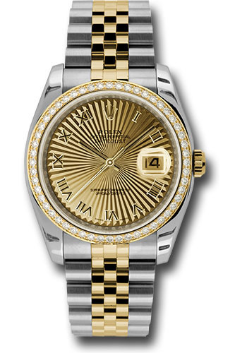Rolex Watches - Datejust 36mm - Steel and Gold Yellow Gold - Diamond Bezel - Jubilee - Style No: 116243 chsbrj