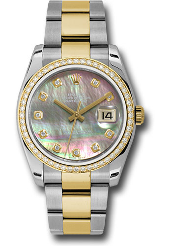 Rolex Watches - Datejust 36 Steel and Yellow Gold - Diamond Bezel - Oyster - Style No: 116243 dkmdo
