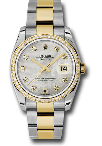 Rolex Watches - Datejust 36 Steel and Yellow Gold - Diamond Bezel - Oyster - Style No: 116243 mdo