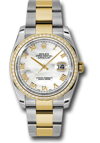 Rolex Watches - Datejust 36 Steel and Yellow Gold - Diamond Bezel - Oyster - Style No: 116243 mro