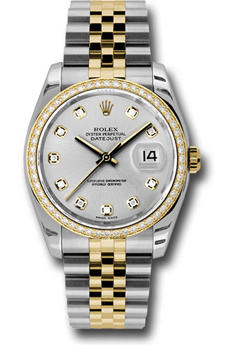 Rolex Watches - Datejust 36 Steel and Yellow Gold - Diamond Bezel - Jubilee - Style No: 116243 sdj
