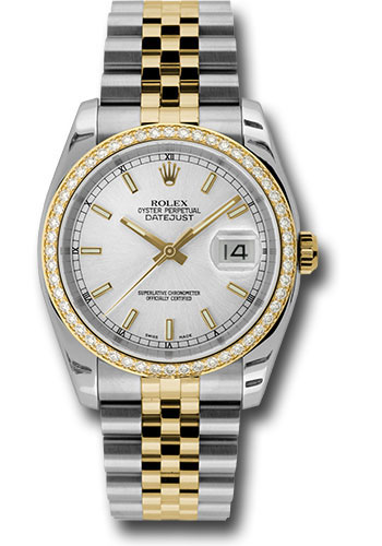 Rolex Watches - Datejust 36mm - Steel and Gold Yellow Gold - Diamond Bezel - Jubilee - Style No: 116243 sij