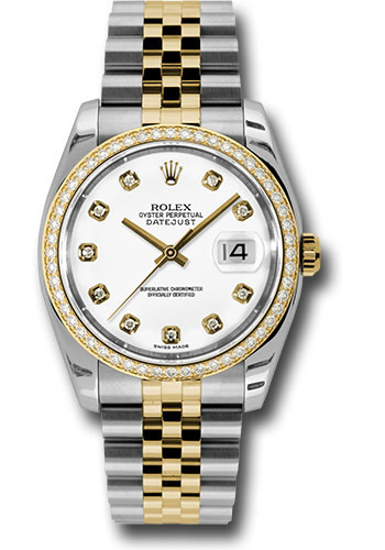 Rolex Watches - Datejust 36mm - Steel and Gold Yellow Gold - Diamond Bezel - Jubilee - Style No: 116243 wdj