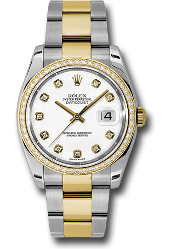 Rolex Watches - Datejust 36 Steel and Yellow Gold - Diamond Bezel - Oyster - Style No: 116243 wdo