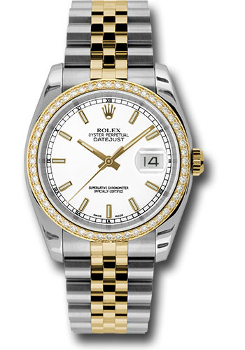 Rolex Watches - Datejust 36mm - Steel and Gold Yellow Gold - Diamond Bezel - Jubilee - Style No: 116243 wij