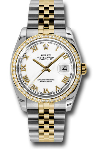 Rolex Watches - Datejust 36mm - Steel and Gold Yellow Gold - Diamond Bezel - Jubilee - Style No: 116243 wrj