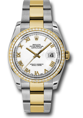 Rolex Watches - Datejust 36 Steel and Yellow Gold - Diamond Bezel - Oyster - Style No: 116243 wro