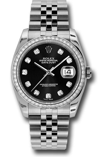 Rolex Watches - Datejust 36 Steel and White Gold - Diamond Bezel - Jubilee - Style No: 116244 bkdj
