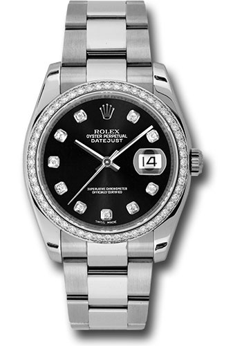 Rolex Watches - Datejust 36mm - Steel White Gold Dia Bezel - Oyster - Style No: 116244 bkdo