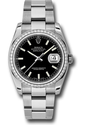 Rolex Watches - Datejust 36mm - Steel White Gold Dia Bezel - Oyster - Style No: 116244 bkio