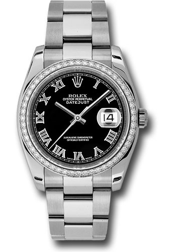 Rolex Watches - Datejust 36mm - Steel White Gold Dia Bezel - Oyster - Style No: 116244 bkro