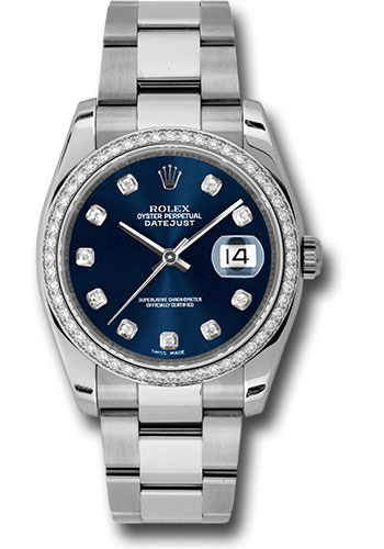 Rolex Watches - Datejust 36mm - Steel White Gold Dia Bezel - Oyster - Style No: 116244 bldo