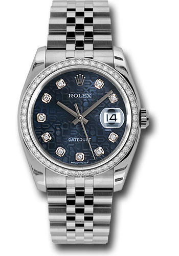 Rolex Watches - Datejust 36 Steel and White Gold - Diamond Bezel - Jubilee - Style No: 116244 bljdj