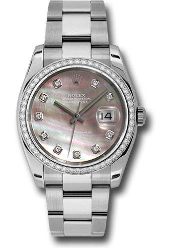 Rolex Watches - Datejust 36mm - Steel White Gold Dia Bezel - Oyster - Style No: 116244 dkmdo