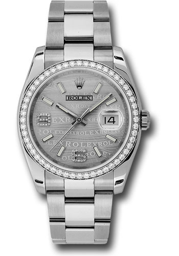 Rolex Watches - Datejust 36mm - Steel White Gold Dia Bezel - Oyster - Style No: 116244 swdao