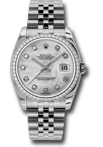 Rolex Watches - Datejust 36 Steel and White Gold - Diamond Bezel - Jubilee - Style No: 116244 mdj