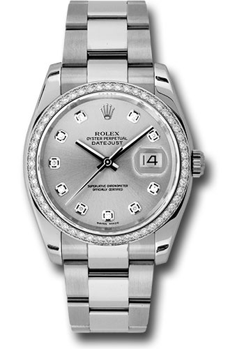 Rolex Watches - Datejust 36mm - Steel White Gold Dia Bezel - Oyster - Style No: 116244 sdo