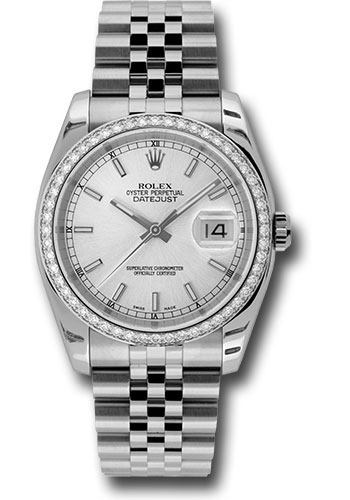 Rolex Watches - Datejust 36mm - Steel White Gold Dia Bezel - Jubilee - Style No: 116244 sij