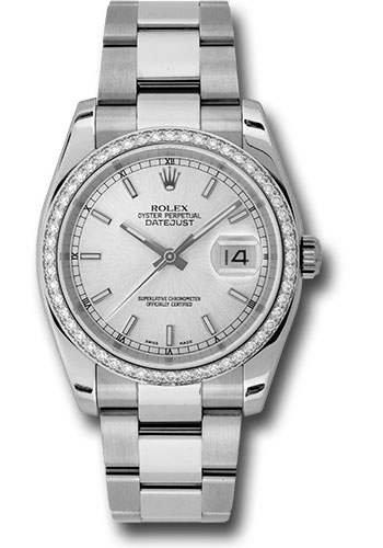 Rolex Watches - Datejust 36 Steel and White Gold - Diamond Bezel - Oyster - Style No: 116244 sio