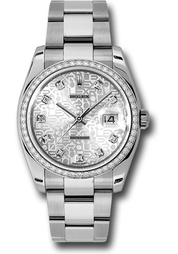 Rolex Watches - Datejust 36mm - Steel White Gold Dia Bezel - Oyster - Style No: 116244 sjdo