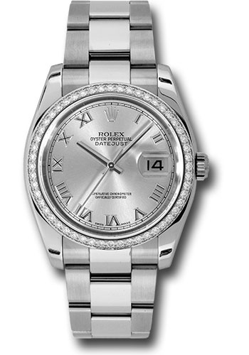 Rolex Watches - Datejust 36mm - Steel White Gold Dia Bezel - Oyster - Style No: 116244 sro